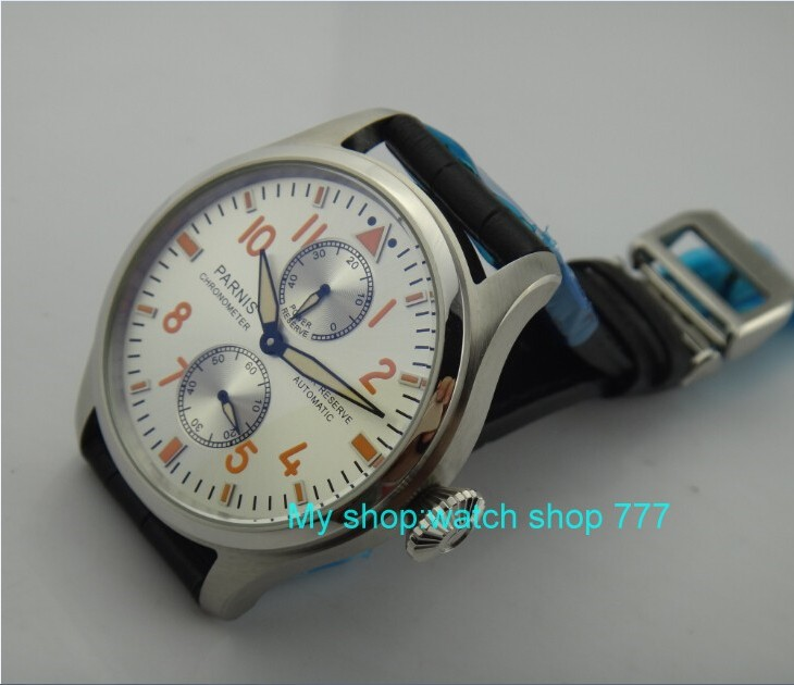 47mm PARNIS Automatic Self-Wind Mechanical movement Power Reserve Mechanical watches Men