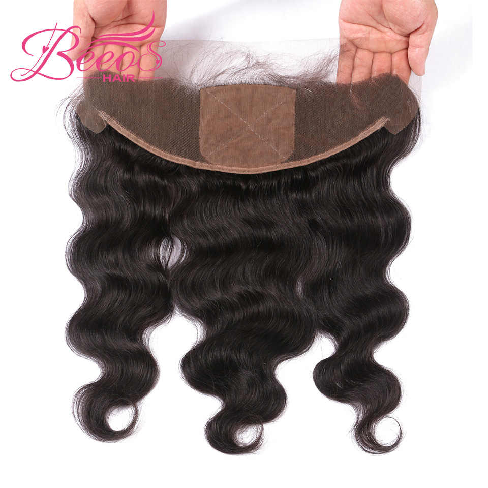 Beeos Brazilian Body Wave Silk Base Lace Frontal Closure 13x4 With Baby Hair Double Knots Remy Human Hair Closure