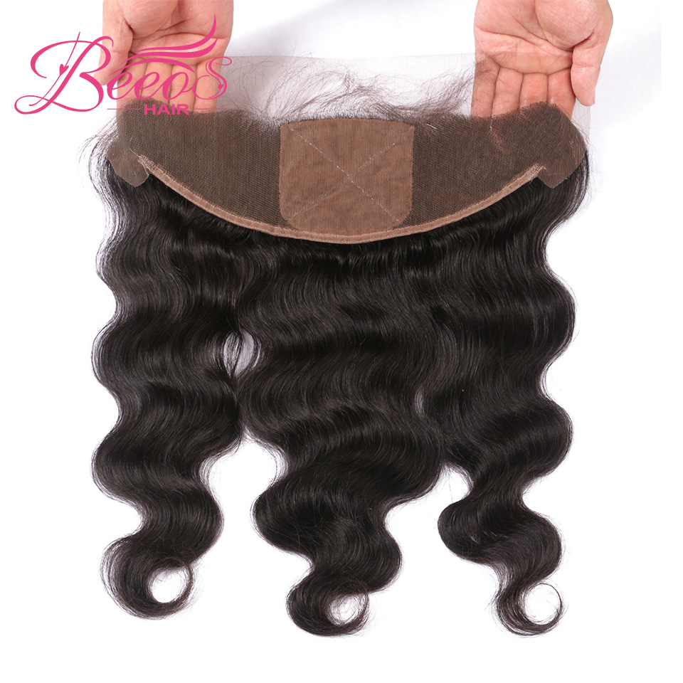 Beeos Closure 13x4 Silk-Base Lace-Frontal Human-Hair Brazilian Body-Wave with Double-Knots title=