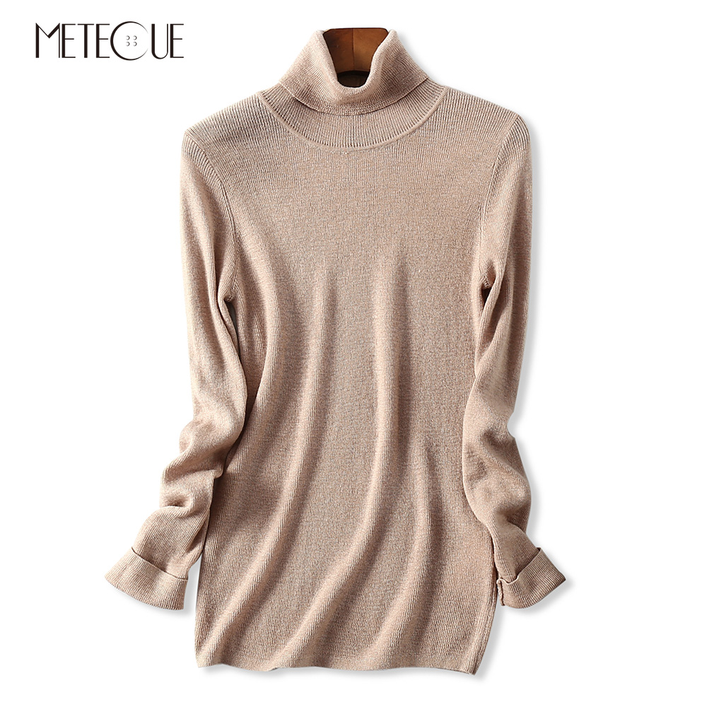 Thin Skin friendly 100 Cashmere Tight Pullover Women Sweater Turtleneck Long Sleeve Knitted Womens Sweaters Autumn