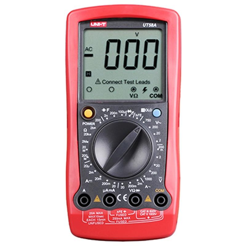 Multitester UNI-T UT58A UT58B UT58C UT58D UT58E Digital Multimeter DC/AC Voltage Current Resistance Capacitance LCD Multimeter jc 930f ac dc voltage current resistance capacitance digital multitester