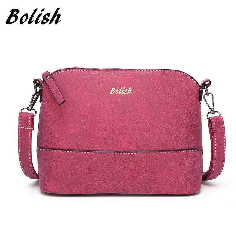 Bolish 빈티지 nubuk 가죽 여성 숄더 가방 패션 작은 쉘 가방 봄 캐주얼 Crossbody 가방