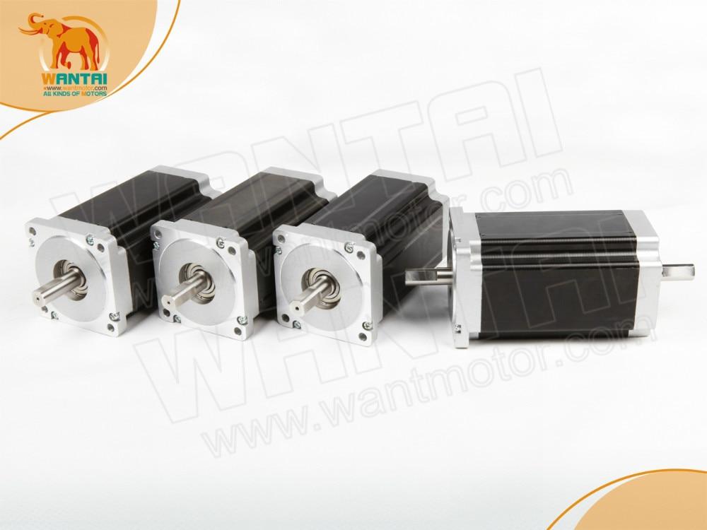 (Free Ship) 4PCS CNC Nema 34 Dual Shaft Wantai stepper motor 1600OZ,3.5A,4-Leads  85BYGH450C-012B