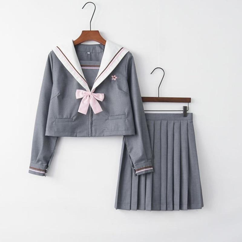 Coréen japonais angleterre étudiant filles uniformes scolaires Harajuku jupe plissée Halloween noël marin costume ensembles complets ZF-0020