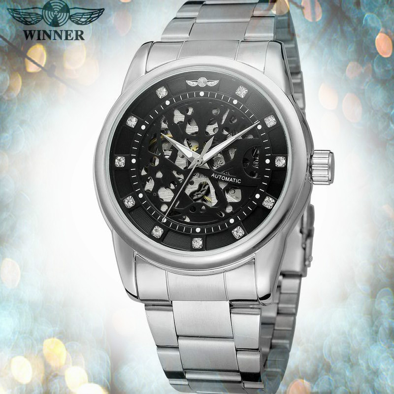 T Winner 2017 New Arrival Watch Men Automatic Movt Clear Stones Skeleton Stainless Steel Bracelet Wristwatches