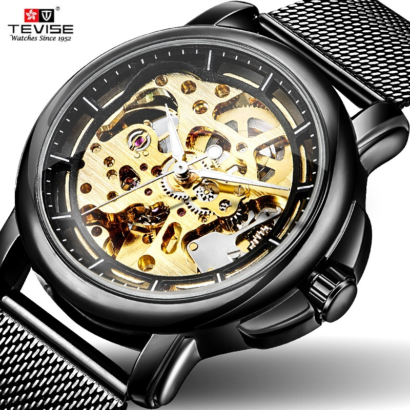 TEVISE Black Watch Men Automatic Skeleton Mechanical Watches Fashion Male Watches Luxury Male Clock Creative Hours Dropshipping развивающие игры 1 3 года