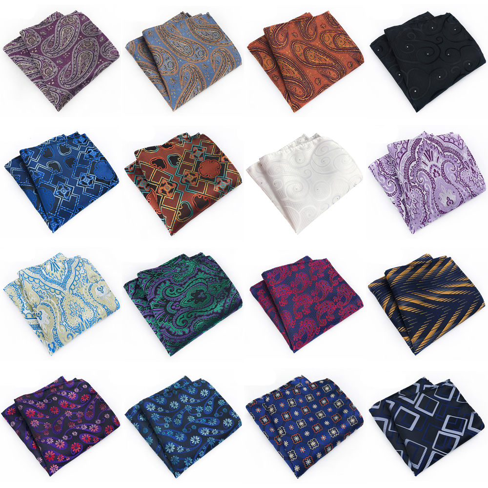 Men's Silk Paisley Floral Pocket Square Wedding Party Handkerchief Multi Colors HZTIE0323