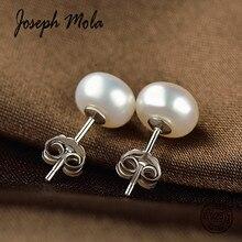 Joseph Mola 100% 925 Sterling Silver 7 8mm White Beige FreshWater Pearl Stud Earrings for Women Party Birthday Gift Fine Jewelry