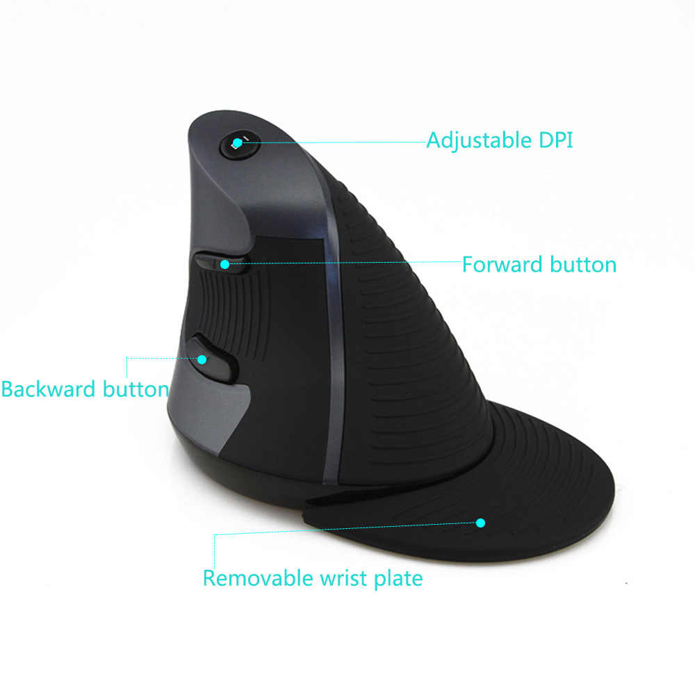 Delux M618 Ergonomis Vertikal Mouse Optik Wireless USB Mause 800/1200/1600 DPI 5D Komputer Mouse Gaming untuk laptop PC Gamer