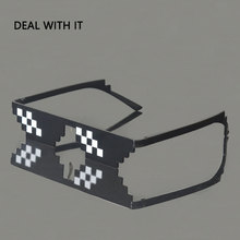 Deal With It Sunglasses Men Thug Life Glasses Women 2017 Hot Sell Plus Size Minecraft Polygonal 8 Bits Style Pixel With Nose Pad