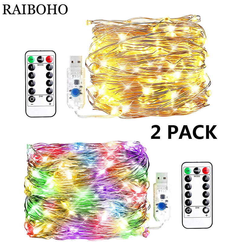 LED String Lights 100 LED USB Plug in Fairy String Lights 8 Modes Copper Wire Lights with Remote Twinkle Light for Bedroom Party