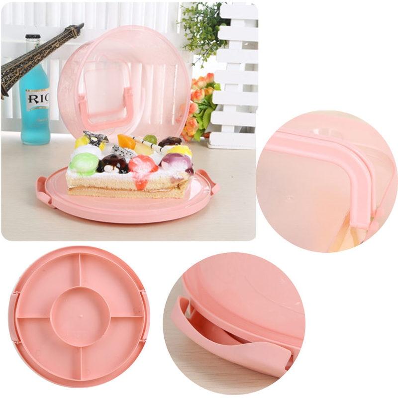 Пластиковая прозрачная коробка для торта, круглая коробка для хранения кондитерских изделий, Подарочная коробка с ручкой для хранения еды, фруктов, десертов, чехол-контейнер для тортов