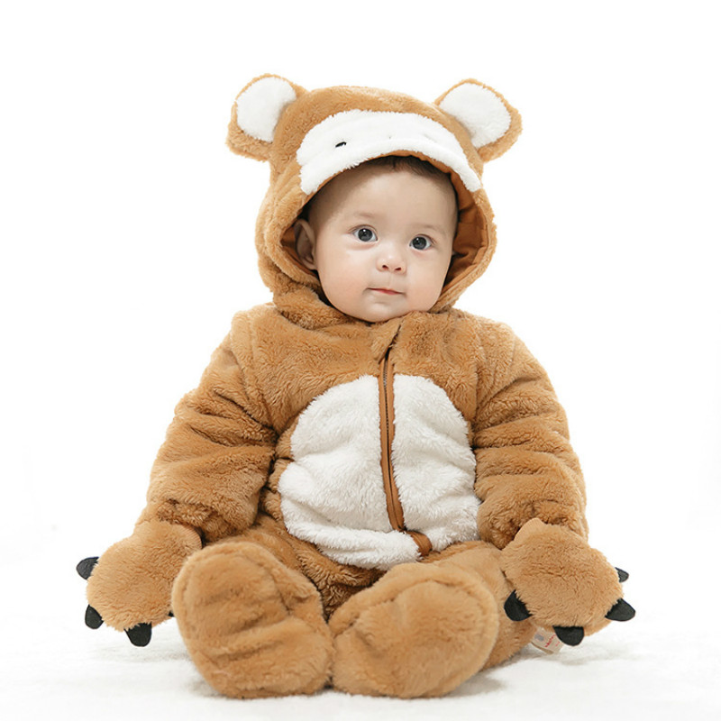 2018 Cute Cartoon Monkey Baby Girls Clothes Animal Baby Rompers Costume Winter Clothes for Boys Warm Snowsuit Jumpsuit 2016 winter new soft bottom solid color baby shoes for little boys and girls plus velvet warm baby toddler shoes free shipping