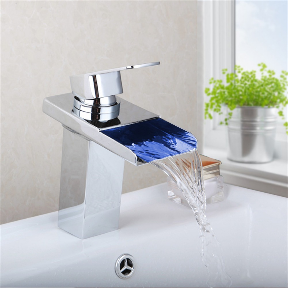 LED Bathroom Single Handle Basin Sink Faucets Waterfall Spout Kitchen Basin Faucet Sink Mixer Tap Chrome Finish chrome finished bathroom sink tub faucet single handle waterfall spout mixer tap solid brass