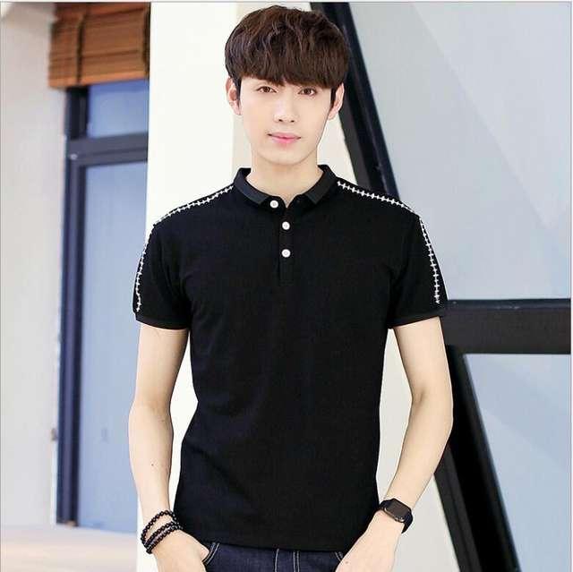 2018 summer new style men's  sleeve T-, Korean version, casual lapel half sleeve