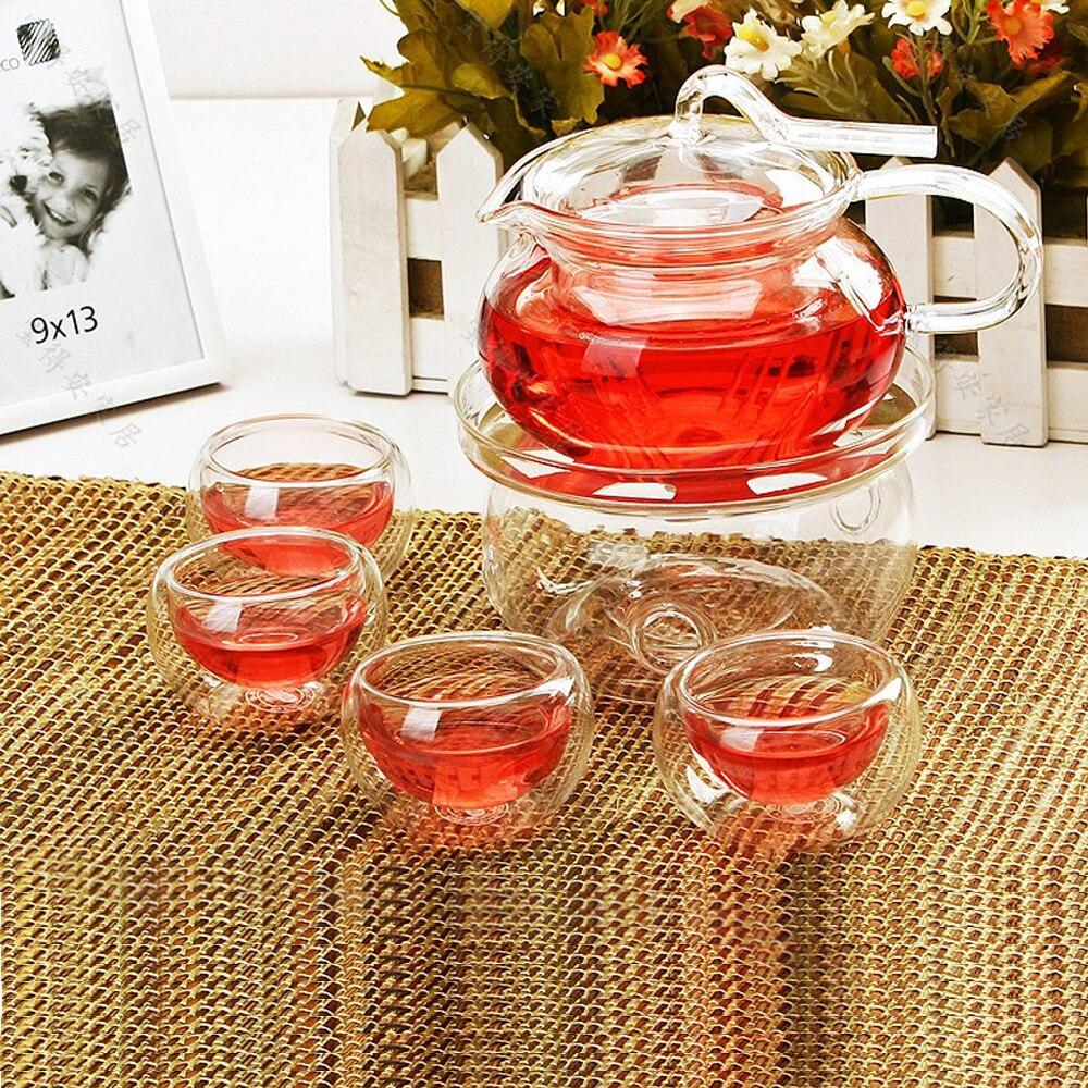Ensemble de thé en verre élégant théière résistant à la chaleur en acier inoxydable avec soucoupe tasses bouilloire plus chaude accueil thé ensemble de cadeau de Table ensemble de cadeau de bureau