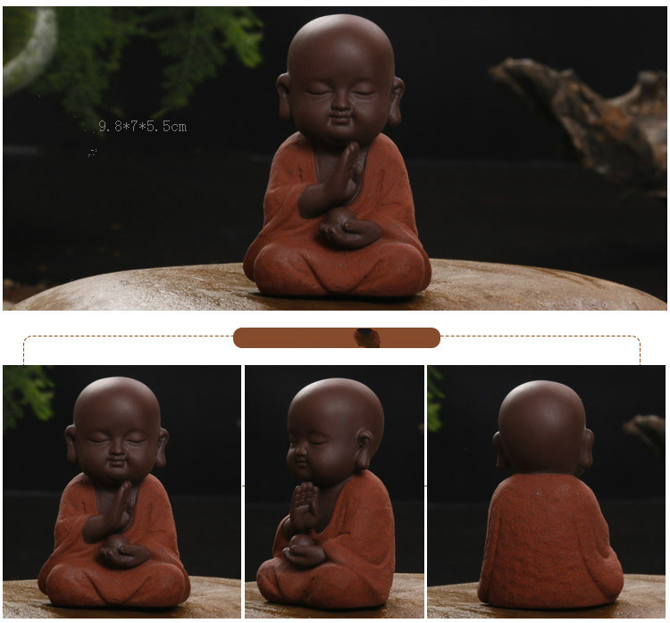 HTB1bIVDaEvrK1RjSspcq6zzSXXa2 - Buddha Statues Small Monk Color Sand Ceramic Home Club Geomantic Decoration Purple  Figurine Tea Pet