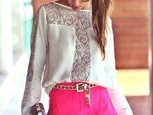 Feitong   1PC Women Lace Crochet Embroidery Shirt Chiffon Blouses Tee Shirt Tops shopping