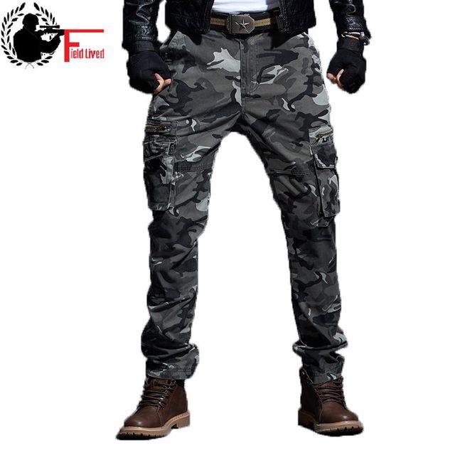 Pantalones tácticos de camuflaje para hombre estilo militar pantalones  Cargo ejército camuflaje Pantalones rectos cremallera masculina 4642e2a75ac6