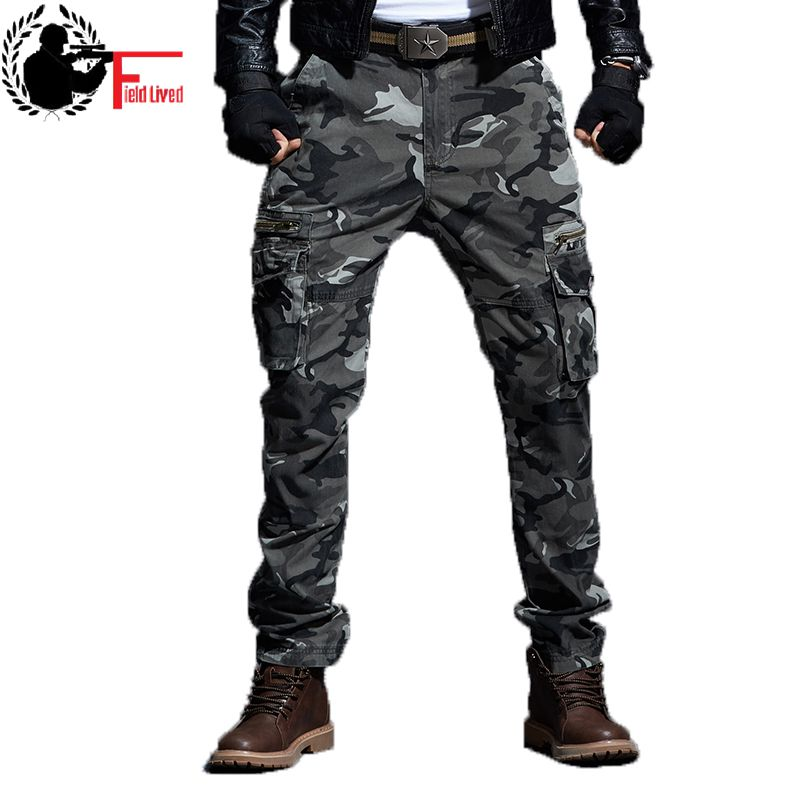 Tactical Camo Pants Mens Military Style Cargo Pants Army Camouflage Straight Trousers Male Zipper Multi Pocket Many Baggy Jogger