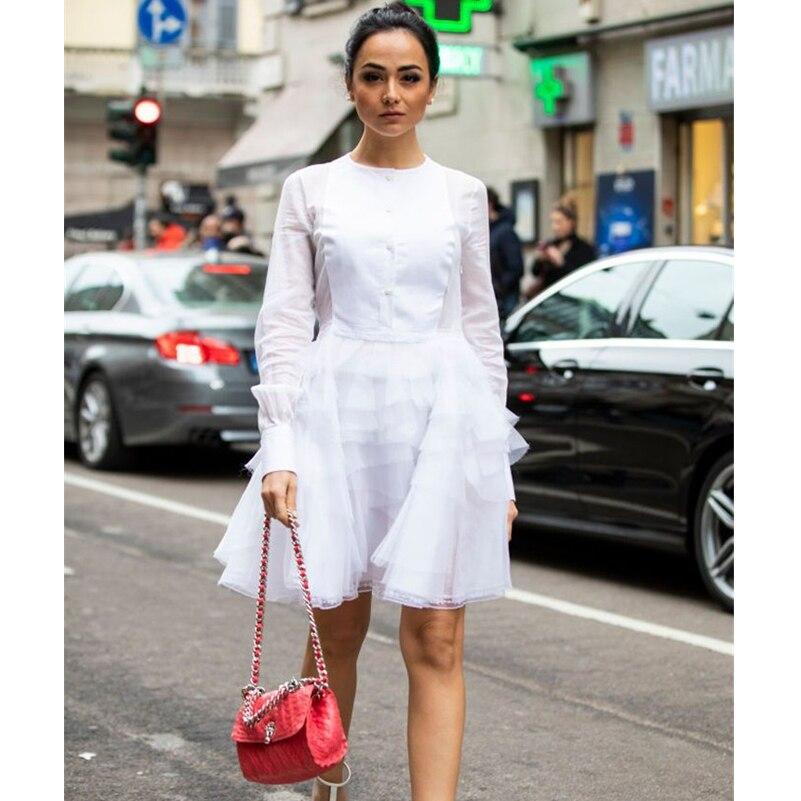 AEL irrégulière Tulle gonflé gâteau robes de soirée Transparent à manches longues Organza Mini belle chemise robe femmes mode été 2019