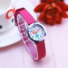 2018 new style hot seller children girls small flowers quartz wristwatches kids students canvas electronic luminous Hands clock