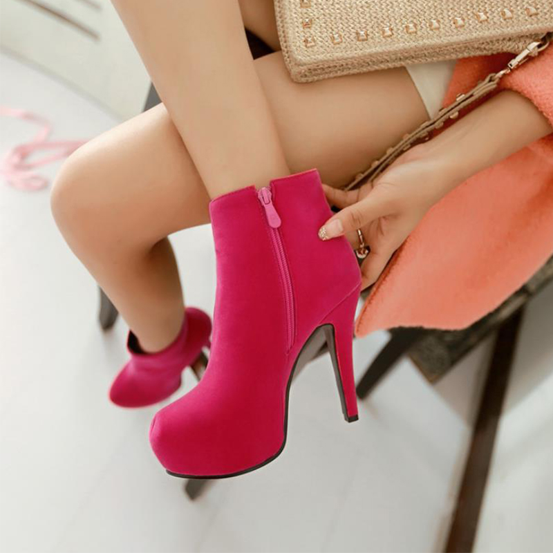 ⑤TAOFFEN Women Ankle Boots High Heel Platfoms Winter Botas Sexy ... ae8bbbdbfed9