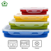 4Pcs/set Collapsible Silicone Lunchbox Folding Bento Boxes Food Storage Containers Crisper Box for Microwave oven Refrigerator
