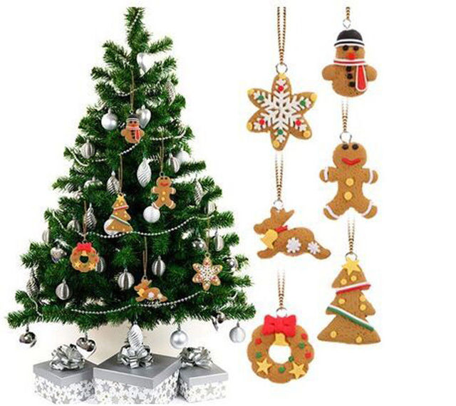 6pcs set soft pottery snowflake man and house christmas tree pendant drop ornaments gingerbread christmas tree - Gingerbread Christmas Tree Decorations