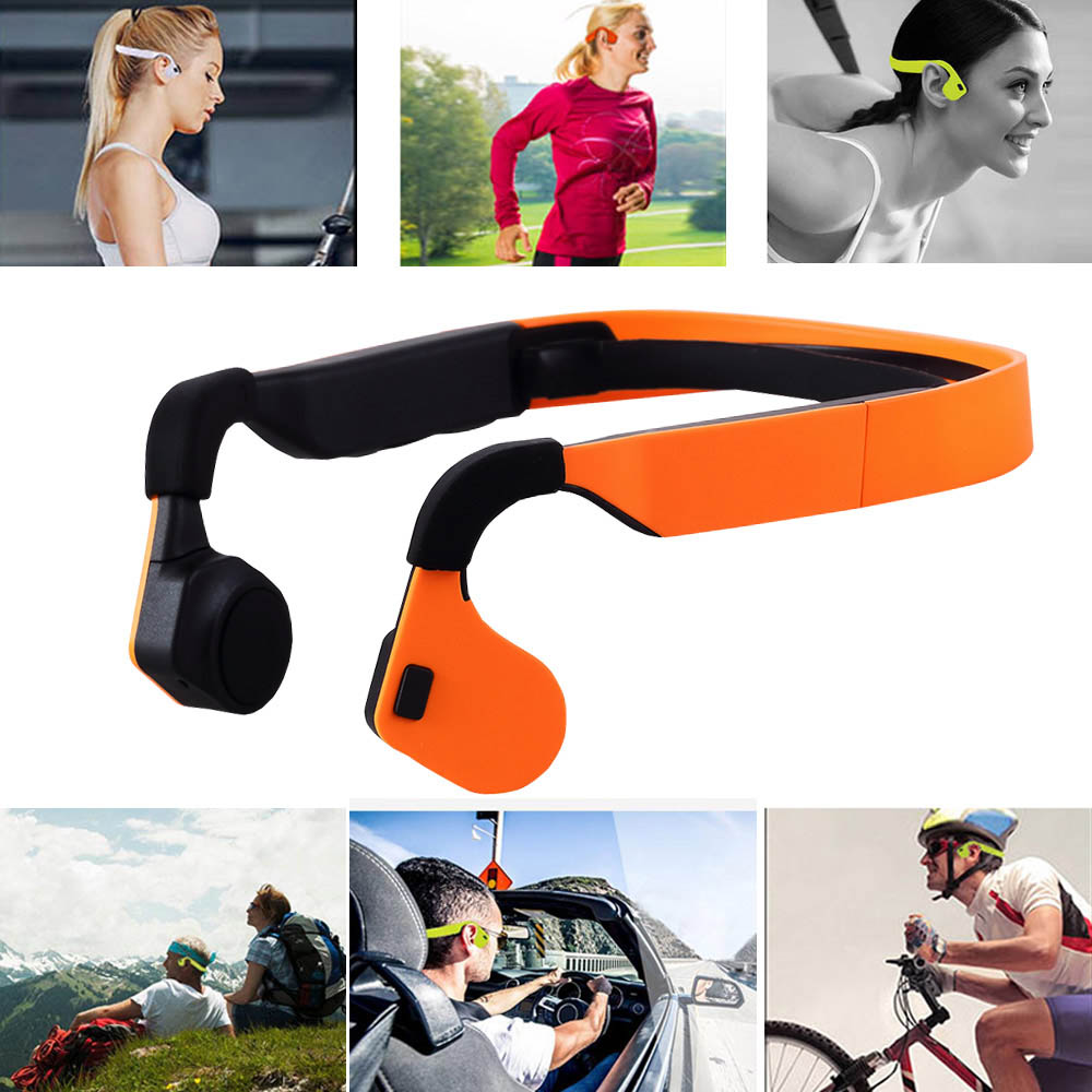 BGreen Bone Conduction Wireless Sport Cuffia Bluetooth Cuffie stereo Auricolari sportivi con microfono Supporto chiamata telefonica