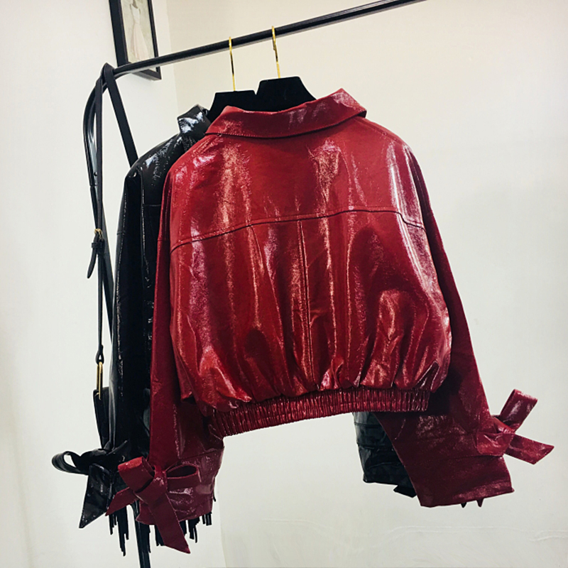 2019Fashion women clothes patent   leather   jacket female Glossy fabric PU   leather   woman short jacket loose outwear feminino jacket