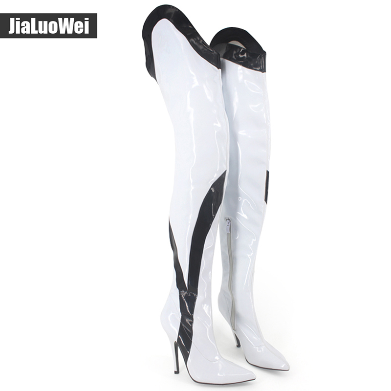 jialuowei Sexy 12CM High heel Womens Fashion Patent Leather Thin Heel Pointed Toe Ladies Martin Over-the-knee Boots Boots jialuowei Sexy 12CM High heel Womens Fashion Patent Leather Thin Heel Pointed Toe Ladies Martin Over-the-knee Boots Boots