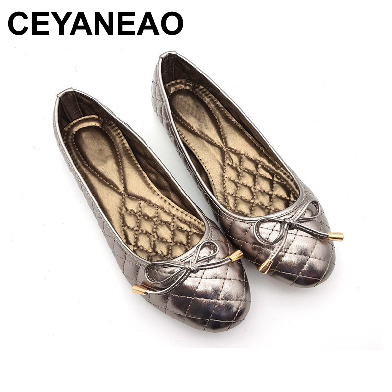 CEYANEAO Women Shoes Fashion Soft Women Flats Elegant Bowtie Spring Autumn Women Casual Shoes Round Toe Comfort Ballet Flats 2015 hot sale new spring autumn women flats sweet bowtie casual fashion ladies wedding shoes