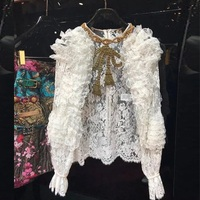 2019 Winter Runway Designer Women White Lace Blouse Shirt Elegant Luxury Bowknot Female Solid Blouse Tops Clothing
