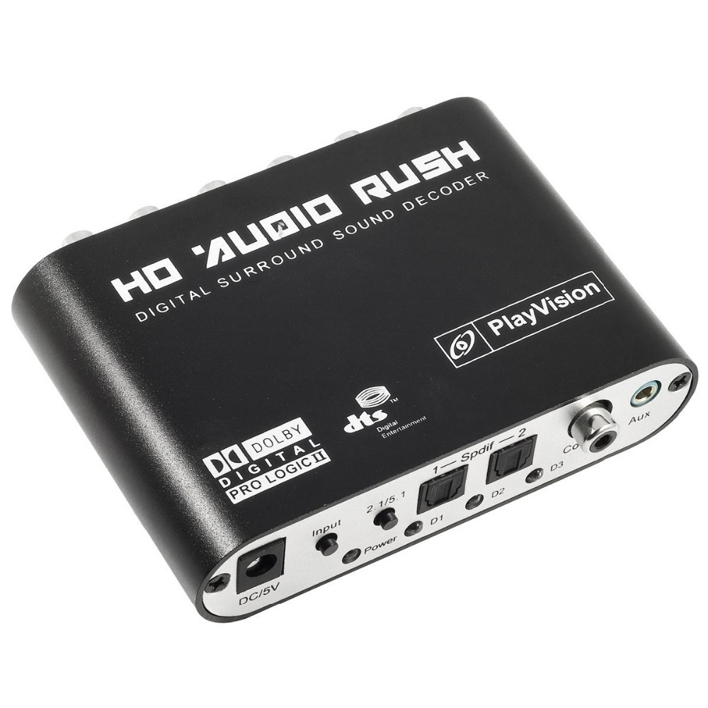 DTS AC3 5.1 CH SPDIF Coaxial Digital Audio DTS/AC-3 to 5.1 Analog Decoder Converter RCA Output Adapter Surround Sound Decorder
