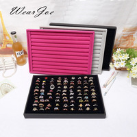 Classic Quality Large Size Ring Storage Wooden Flat Tray Organizer Velvet Protector Carrying Case Earring Display
