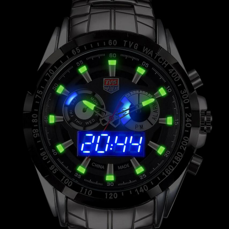 Top marca TVG reloj para hombre de lujo acero lleno LED hombres reloj luminoso impermeable deportes Relojes digitales mens Relogio masculino xfcs
