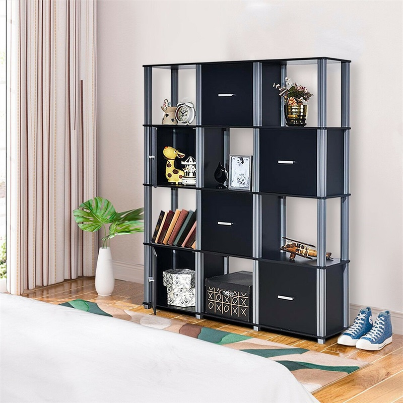 4-Tier Storage Shelf Display Bookcase with 6 Doors Storage Display Cabinet Bedroom HW60175