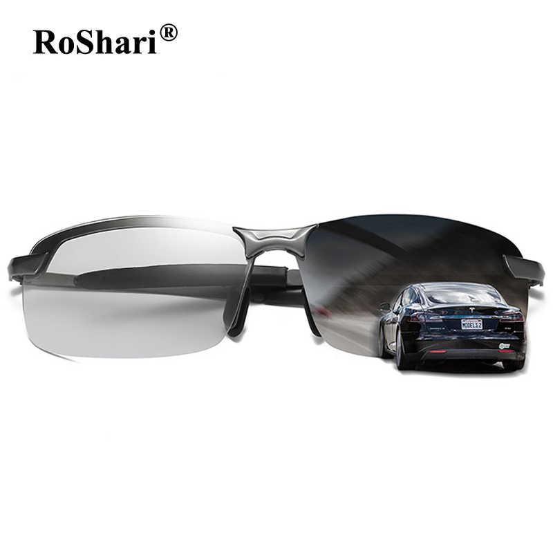 c29571e4bb6 RoShari vintage Driving Photochromic Sunglasses Men Polarized Chameleon  Discoloration Sun glasses for men lunette soleil homme