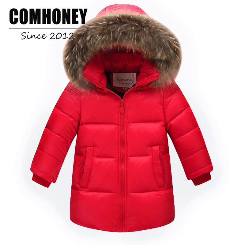 Children's Down Jacket for Girls Boys Fur Collar Hooded 2-14T Toddle Baby Warm Outwear Infant Ski Suit Kids Parka Winter Coat