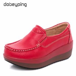 Image 2 - Dobeyping אמיתי עור אישה נעלי פלטפורמה שטוחה נשים נעלי מוקסינים נשים נעלי טריז נקבה סניקרס גבירותיי הנעלה