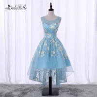 Modabelle Blue Short Front Long Back Flowers Floral Prom Dress Cheap Junior Girls Scoop Neck Lace
