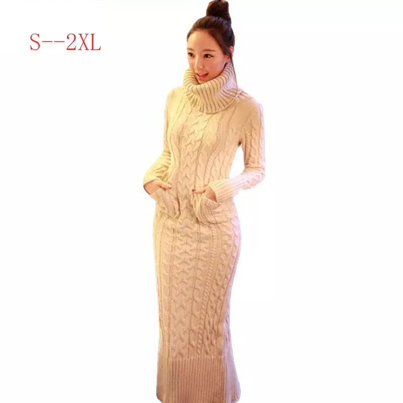 2019 Autumn Winter Womens Clothing Knitting Sweater Dress Fashion Long Section Women High Collar Long Sleeve Sweater Dress