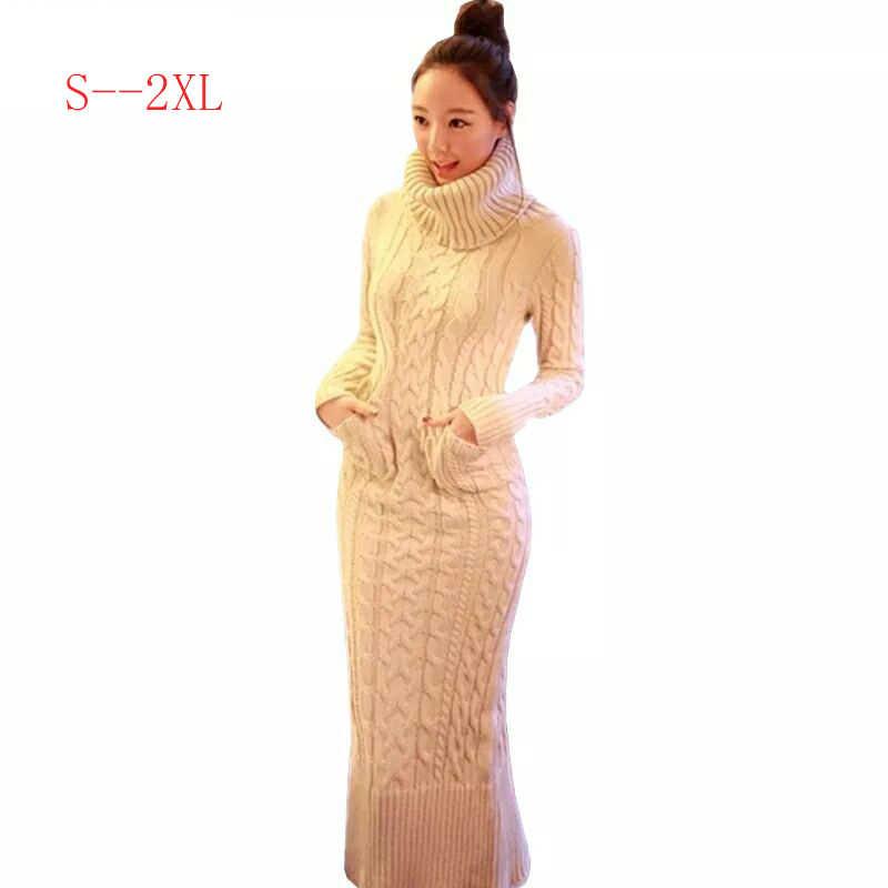 2019 jesień zima odzież damska sweter na drutach sukienka moda długi odcinek kobiet wysoki kołnierz z długim rękawem sweter sukienka