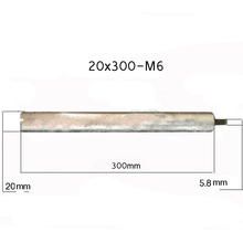 20*300mm-M6 Magnesium Anode Rod for Solar Water Heater Systems With 1 Copper Nut m5 m6 electric water heater magnesium bar 24x240 mm big magnesium anode rod