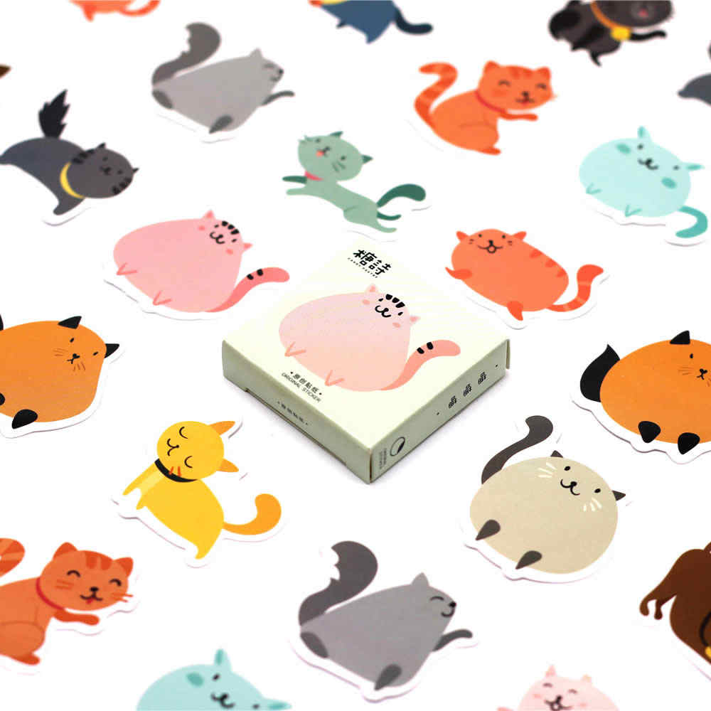 1pcs Witte Kat Leuke Cartoon Stickers Tol Gift Speelgoed Jongen Meisje Kinderen