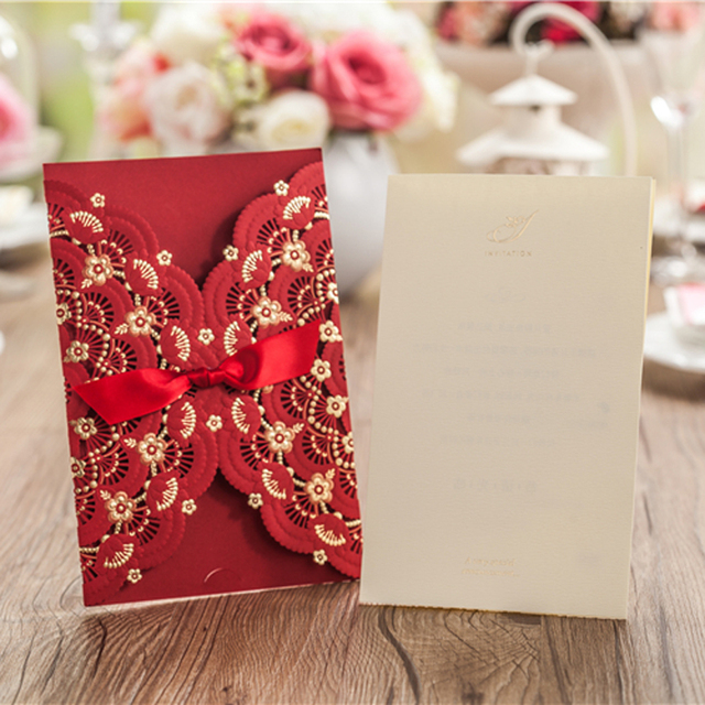 Vintage Customized Wedding Party Event Free Envelope Unique Design Laser Cut Chinese Invitation Card