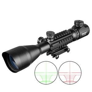 Image 3 - 전술 4 12X50 범위 + 빨간 점 + 레이저 세트 사냥 Airsofts 공기총 빨강 녹색 점 레이저 시력 Riflescope 광학 범위 콤보