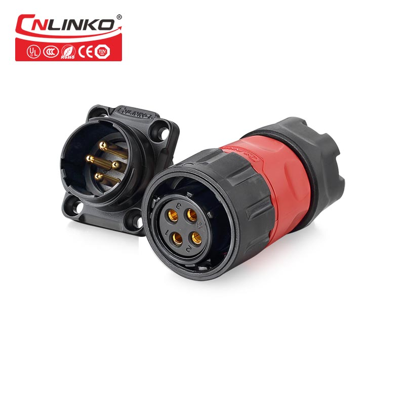 Cnlinko Manufacturer 4 pin male female waterproof cable connector ip67 outdoor plug power