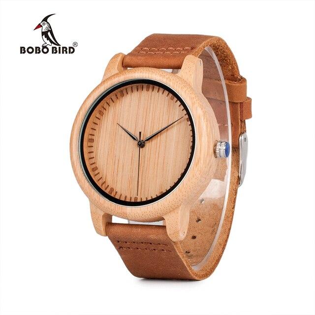 BOBO BIRD бамбуковые деревянные часы для мужчин и женщин модные повседневные кожаные ремешок наручные часы мужские Relogio C-A15 принимаем дропшиппинг